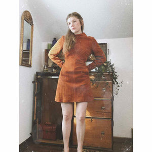 Vintage 70's Embroidered Suede Long Sleeve Dress